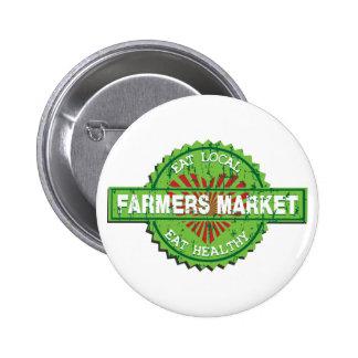Corazón del mercado de los granjeros pin redondo de 2 pulgadas