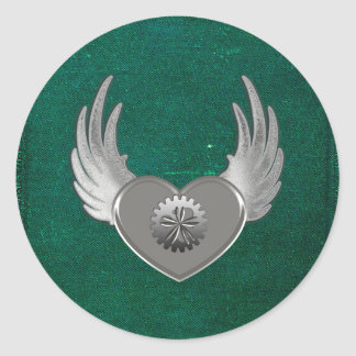 Corazón del metal de Steampunk Pegatina Redonda