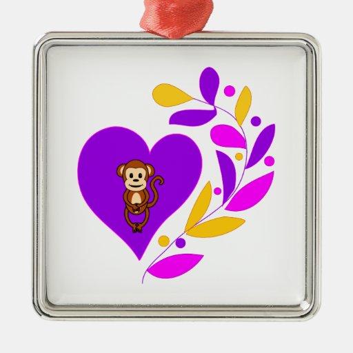Corazón del mono adorno cuadrado plateado