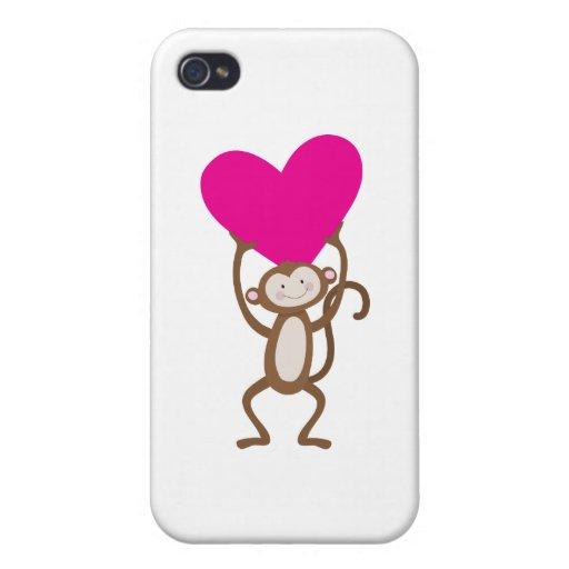 Corazón del mono iPhone 4/4S carcasa