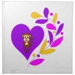 Corazón del mono servilleta de papel