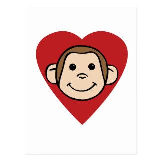 Corazón del mono postal