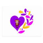 Corazón del mono tarjetas postales