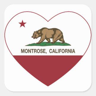 corazón del montrose de la bandera de California Pegatina Cuadrada