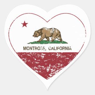 corazón del montrose de la bandera de California Pegatina En Forma De Corazón