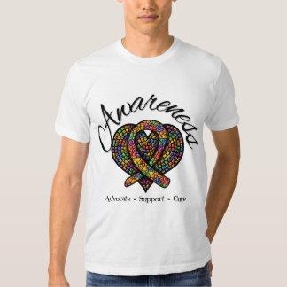 Corazón del mosaico de la conciencia del autismo playera