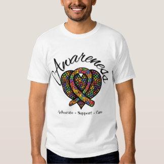Corazón del mosaico de la conciencia del autismo playeras