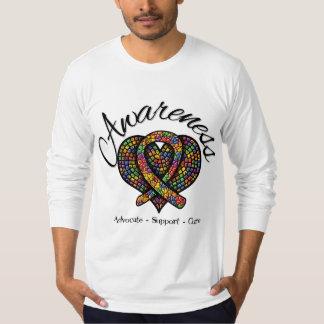 Corazón del mosaico de la conciencia del autismo poleras