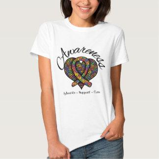 Corazón del mosaico de la conciencia del autismo remeras
