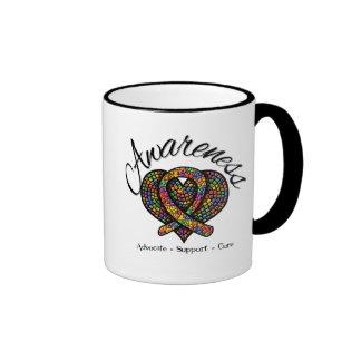 Corazón del mosaico de la conciencia del autismo tazas de café