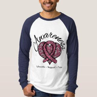Corazón del mosaico de la conciencia del cáncer de playeras