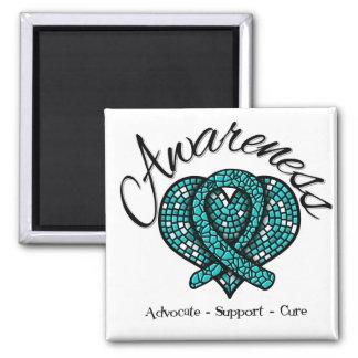Corazón del mosaico de la conciencia del cáncer ov imán cuadrado