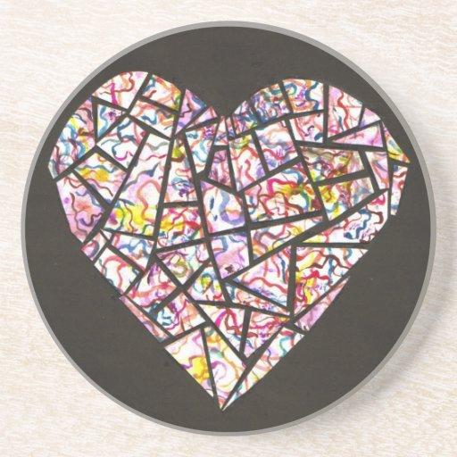 corazón del mosaico posavasos personalizados