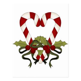 Corazón del navidad del bastón de caramelo postal
