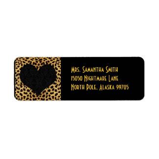 Corazón del negro de la impresión del guepardo - etiqueta de remite