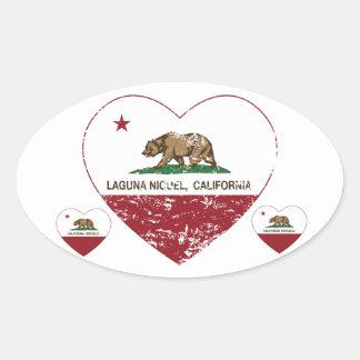 corazón del niguel de Laguna de la bandera de Pegatina Ovalada