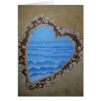 Corazón del océano en tarjeta de felicitación de l