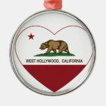 corazón del oeste de hollywood de la bandera de adorno redondo plateado