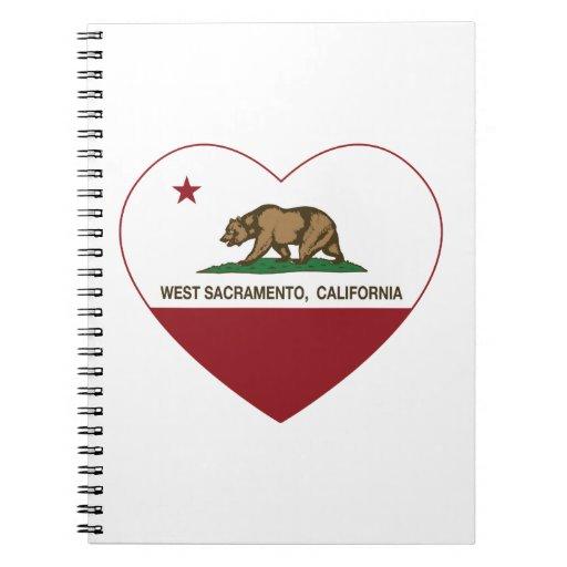 corazón del oeste de Sacramento de la bandera de C Libretas Espirales