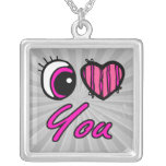 Corazón del ojo de Emo te amo Joyeria Personalizada