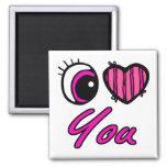 Corazón del ojo de Emo te amo Imanes