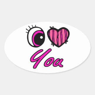 Corazón del ojo de Emo te amo Pegatina De Oval