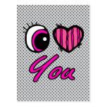 Corazón del ojo de Emo te amo Tarjeta Postal