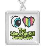 Corazón del ojo te amo como una torta de los amore collar personalizado