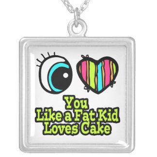 Corazón del ojo te amo como una torta de los amore collar plateado