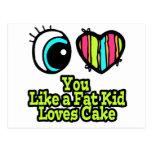 Corazón del ojo te amo como una torta de los amore postales