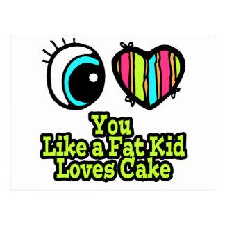 Corazón del ojo te amo como una torta de los postal