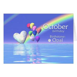 Corazón del ópalo del cumpleaños de octubre felicitaciones