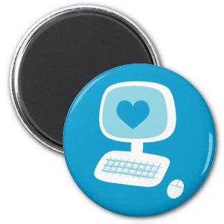 Corazón del ordenador imán redondo 5 cm