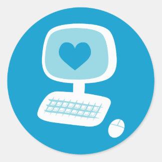 Corazón del ordenador pegatina redonda