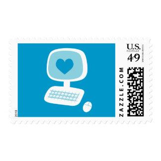 Corazón del ordenador sello postal