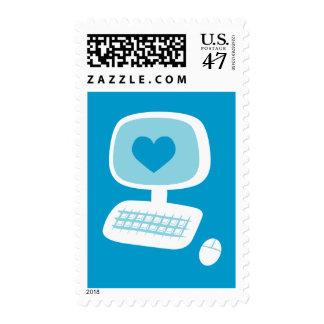 Corazón del ordenador sellos postales