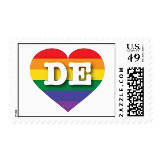 Corazón del orgullo de Delaware DE rainbow Sello