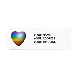CORAZÓN DEL ORGULLO DE LGBT ETIQUETAS DE REMITE