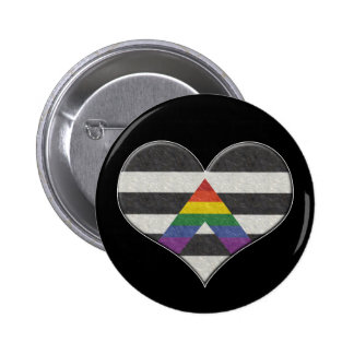 Corazón del orgullo del aliado de LGBT Pin Redondo De 2 Pulgadas