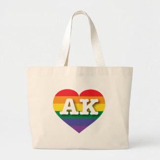 Corazón del orgullo del arco iris de Alaska AK Bolsa Tela Grande
