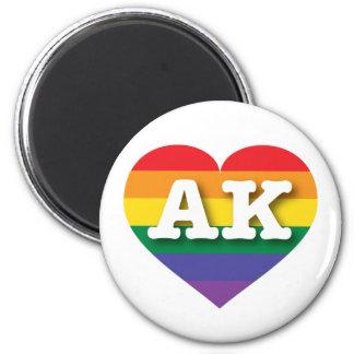 Corazón del orgullo del arco iris de Alaska AK Imán Redondo 5 Cm