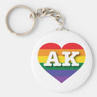 Corazón del orgullo del arco iris de Alaska AK Llavero Redondo Tipo Chapa