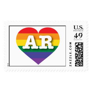 Corazón del orgullo del arco iris de Arkansas AR Sello