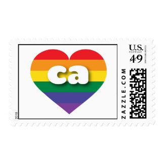 Corazón del orgullo del arco iris de California Ca Sello