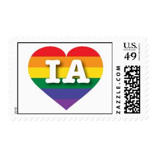 Corazón del orgullo del arco iris de Iowa IA Sello