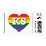 Corazón del orgullo del arco iris de Kansas KS Sello
