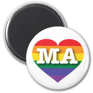 Corazón del orgullo del arco iris de Massachusetts Imán Redondo 5 Cm