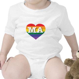 Corazón del orgullo del arco iris de Massachusetts Trajes De Bebé
