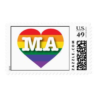 Corazón del orgullo del arco iris de Massachusetts Sellos