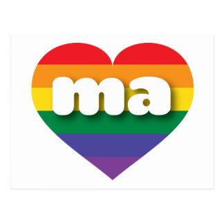 Corazón del orgullo del arco iris de Massachusetts Postal